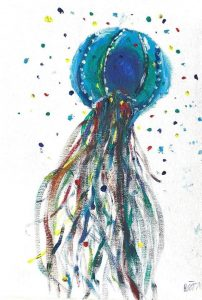 Polly's rainbow jellyfish painting for the NHS